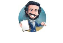 Stylish Man Cartoon Character: Classic Blue Edition 2020 - Shape2