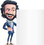Stylish Man Cartoon Character: Classic Blue Edition 2020 - Showing Big Blank banner