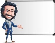 Stylish Man Cartoon Character: Classic Blue Edition 2020 - Showing on Big whiteboard