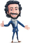 Stylish Man Cartoon Character: Classic Blue Edition 2020 - Showing with left hand