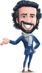 Stylish Man Cartoon Character: Classic Blue Edition 2020 - Showing with right hand