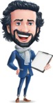 Stylish Man Cartoon Character: Classic Blue Edition 2020 - Smiling and holding notepad
