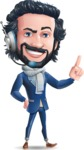 Stylish Man Cartoon Character: Classic Blue Edition 2020 - Talking on phone