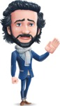 Stylish Man Cartoon Character: Classic Blue Edition 2020 - Waving for Goodbye with a hand