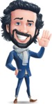 Stylish Man Cartoon Character: Classic Blue Edition 2020 - Waving for Hello with a hand