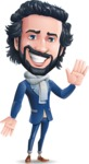 Stylish Man Cartoon Character: Classic Blue Edition 2020 - Waving