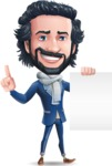 Stylish Man Cartoon Character: Classic Blue Edition 2020 - with a Blank paper