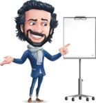 Stylish Man Cartoon Character: Classic Blue Edition 2020 - with a Blank Presentation board