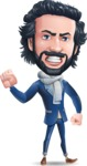 Stylish Man Cartoon Character: Classic Blue Edition 2020 - with Angry face
