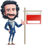 Stylish Man Cartoon Character: Classic Blue Edition 2020 - with Blank Real estate sign