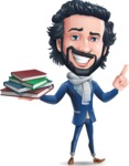 Stylish Man Cartoon Character: Classic Blue Edition 2020 - with Books