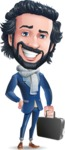 Stylish Man Cartoon Character: Classic Blue Edition 2020 - with Briefcase