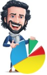 Stylish Man Cartoon Character: Classic Blue Edition 2020 - with Business graph