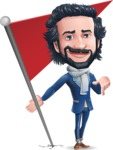 Stylish Man Cartoon Character: Classic Blue Edition 2020 - with Flag