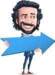 Stylish Man Cartoon Character: Classic Blue Edition 2020 - with Positive arrow