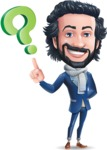 Stylish Man Cartoon Character: Classic Blue Edition 2020 - with Question mark