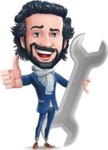Stylish Man Cartoon Character: Classic Blue Edition 2020 - with Repairing tool wrench
