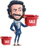 Stylish Man Cartoon Character: Classic Blue Edition 2020 - with Sale boxes