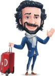 Stylish Man Cartoon Character: Classic Blue Edition 2020 - with Suitcase