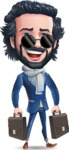 Stylish Man Cartoon Character: Classic Blue Edition 2020 - with Two briefcases