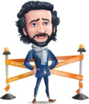 Stylish Man Cartoon Character: Classic Blue Edition 2020 - with Under Construction sign