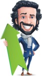 Stylish Man Cartoon Character: Classic Blue Edition 2020 - with Up arrow