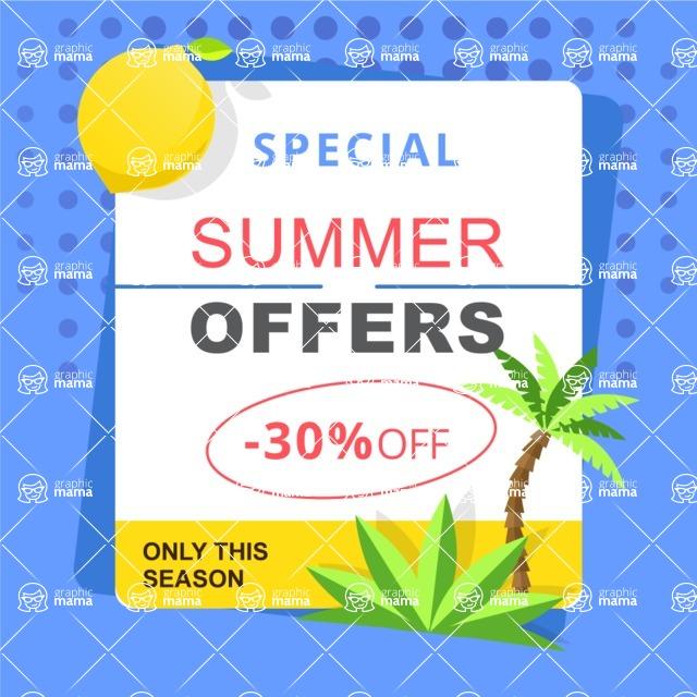 Summer Vector Graphics - Mega Bundle - Vector Summer Offer Poster Template