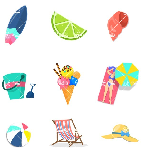 Summer Vector Graphics - Mega Bundle - Colorful Summer Vector Icons Set