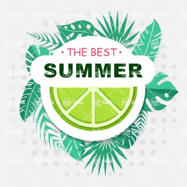 Summer Vector Graphics - Mega Bundle - Modern Floral Elements Summer Poster Template