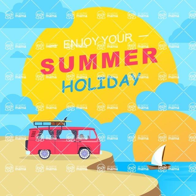 Summer Vector Graphics - Mega Bundle - Vector Summer Vacation Poster Template