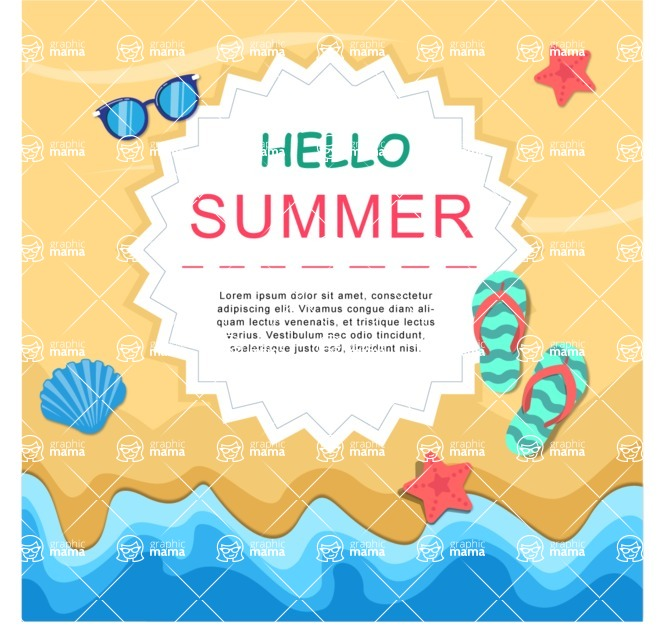 Summer Vector Graphics - Mega Bundle - Colorful Vector Summer Poster Template