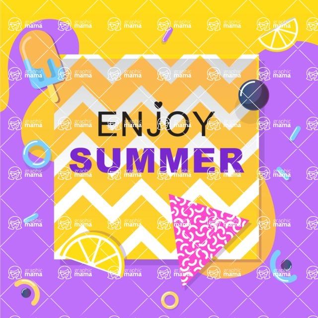 Summer Vector Graphics - Mega Bundle - Colorful Minimalistic Summer Poster Template