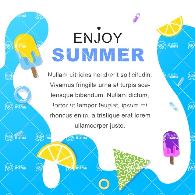 Summer Vector Graphics - Mega Bundle - Colorful Summer Poster Template with Water