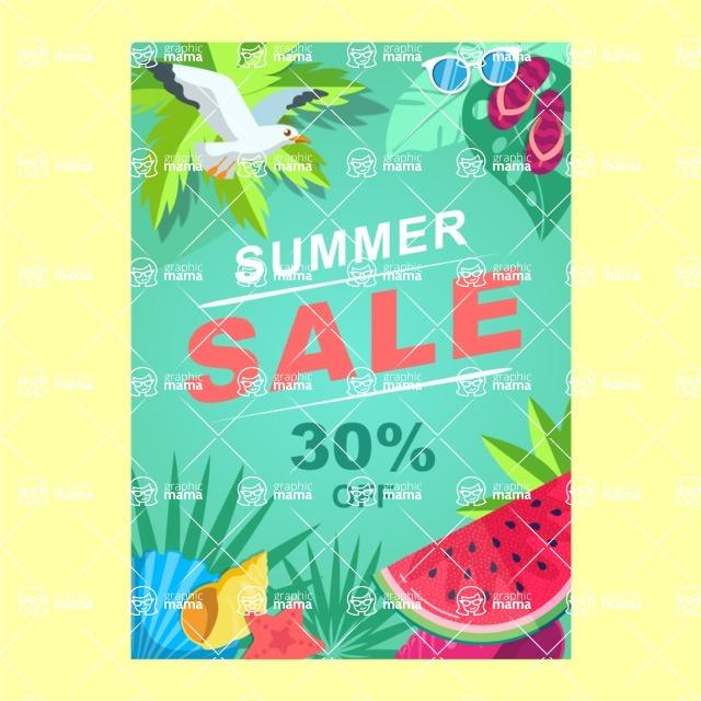 Summer Vector Graphics - Mega Bundle - Summer Sale Vector Poster Template