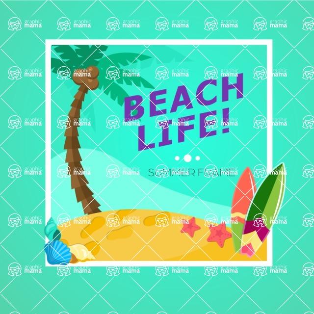 Summer Vector Graphics - Mega Bundle - Beach Life Summer Poster Template