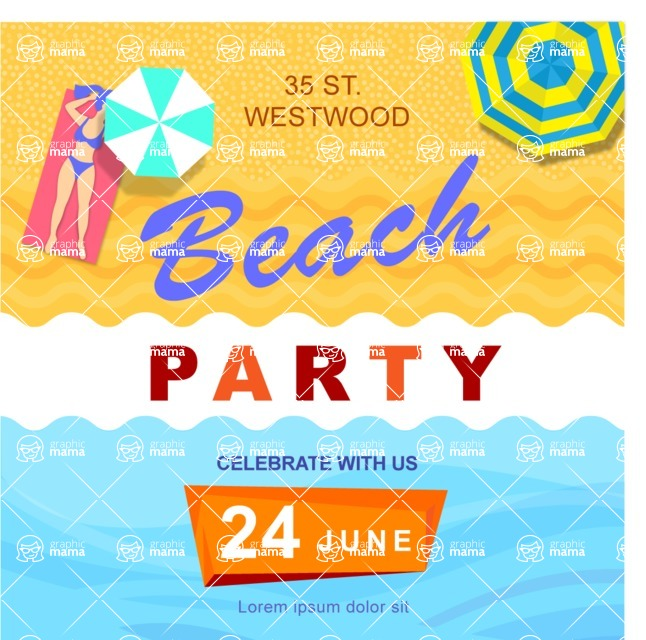 Summer Vector Graphics - Mega Bundle - Modern Summer Party Poster Template