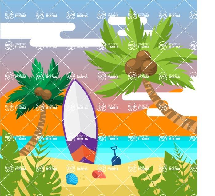 Summer Vector Graphics - Mega Bundle - Flat Summer Sunset Background for Poster