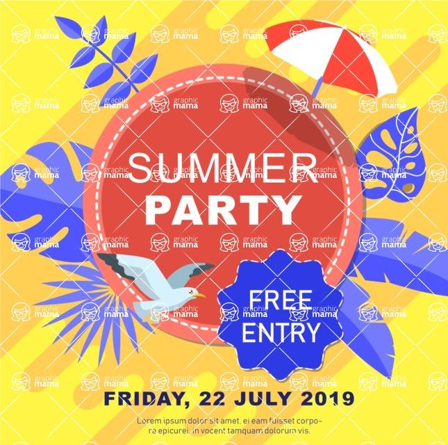 Summer Vector Graphics - Mega Bundle - Summer Party Vector Poster Template