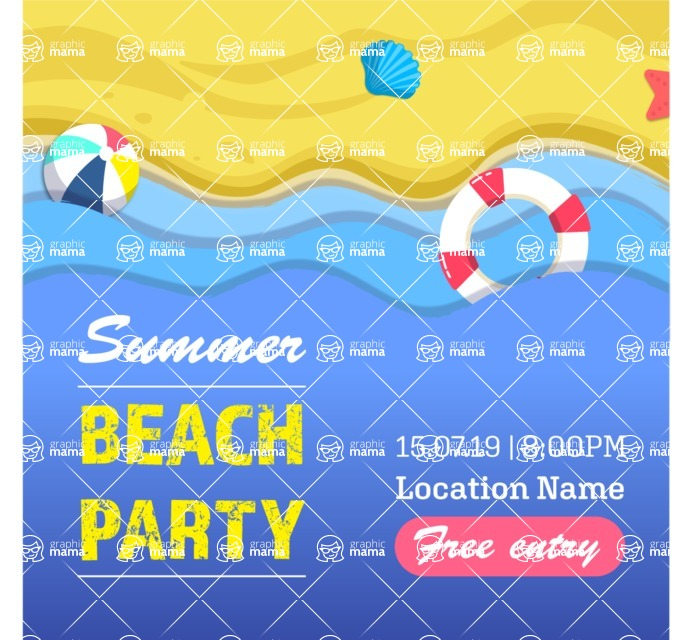 Summer Vector Graphics - Mega Bundle - Vector Beach Party Poster Template