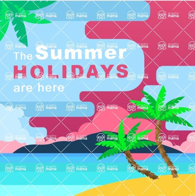 Summer Vector Graphics - Mega Bundle - Summer Holidays Vector Poster Template
