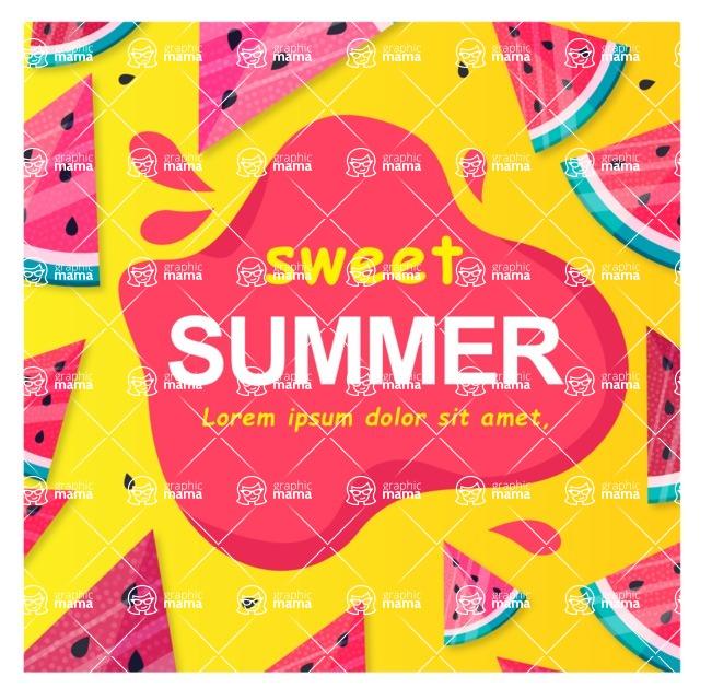 Summer Vector Graphics - Mega Bundle - Sweet Watermelon Poster Template for Summer