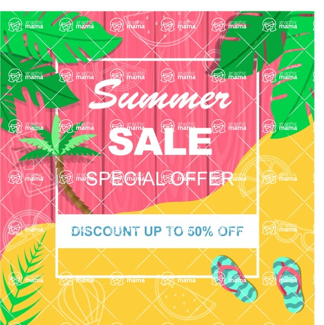 Summer Vector Graphics - Mega Bundle - Summer Discounts Flyer Template