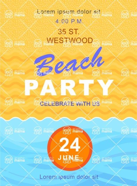 Summer Vector Graphics - Mega Bundle - Summer Beach Party Vector Poster Template