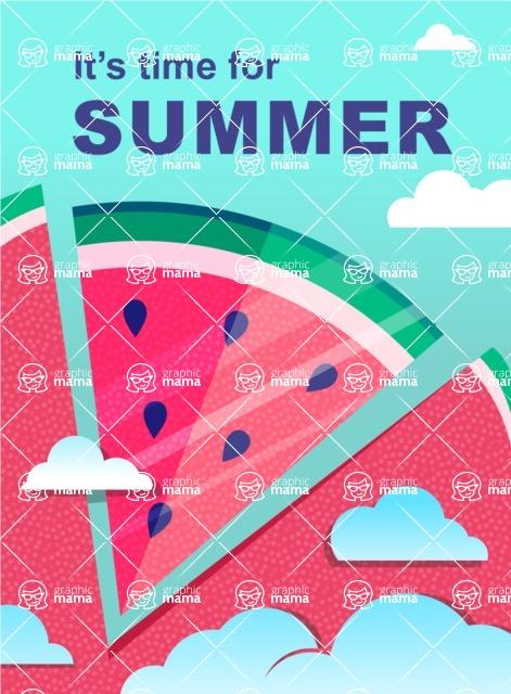 Summer Vector Graphics - Mega Bundle - Summer Time Watermelon Poster Template