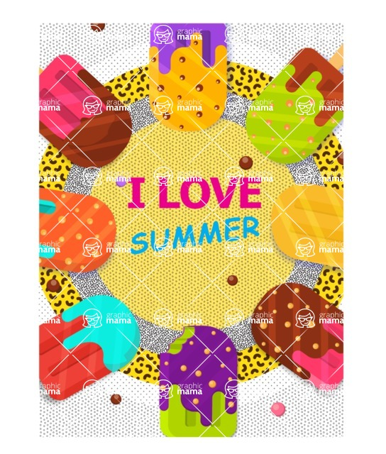 Summer Vector Graphics - Mega Bundle - Summer Ice Cream Vector Poster Template