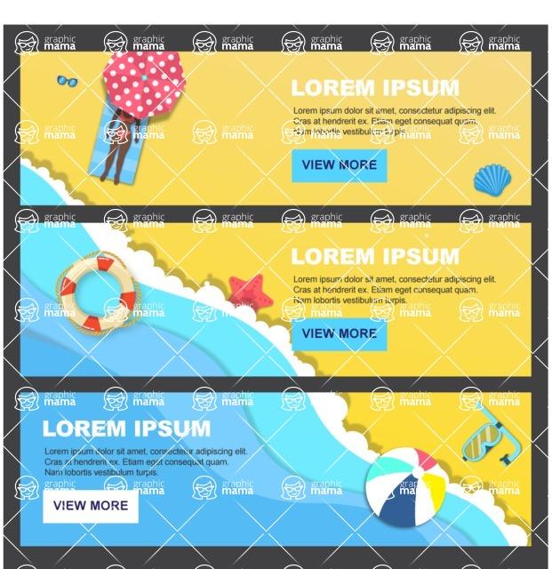 Summer Vector Graphics - Mega Bundle - Vector Summer Banner Template