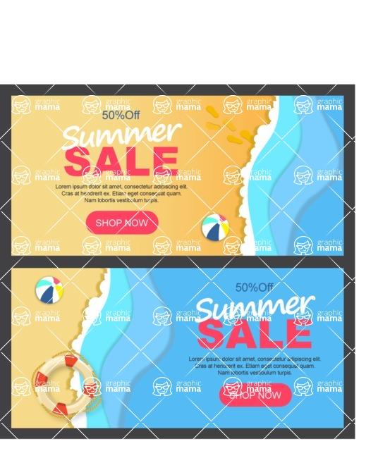 Summer Vector Graphics - Mega Bundle - Vector Summer Sale Horizontal Banner Template