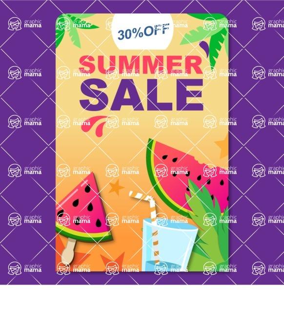 Summer Vector Graphics - Mega Bundle - Colorful Summer Sale Banner Template