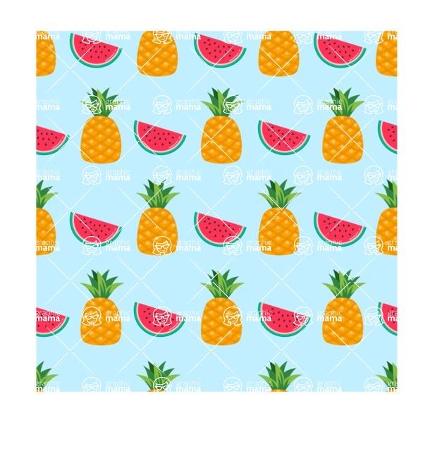 Summer Vector Graphics - Mega Bundle - Seamless Summer Fruits Vector Pattern