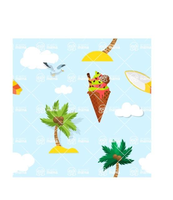 Summer Vector Graphics - Mega Bundle - Vector Summer Items Pattern